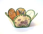 Vintage Easter Basket Vintage Upcycled Card Basket Vintage Handmade Paper Basket Shabby Chic
