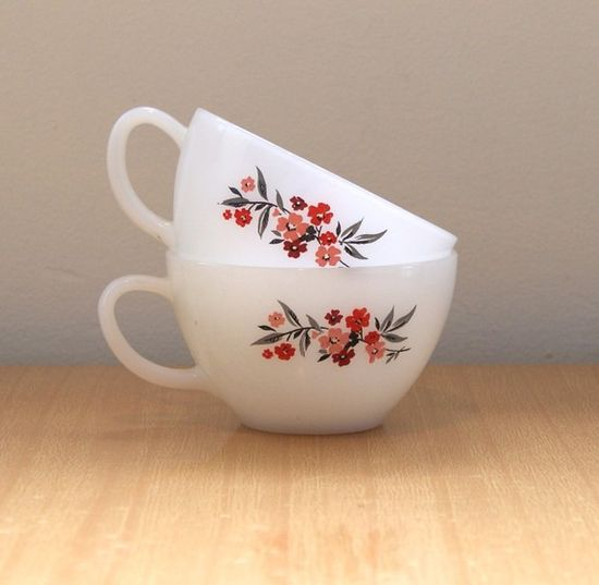 Adorable Milk Glass Teacups - Vintage Fire King ~ I use to have this whole set, given to me by my Mom.  She got this when she got married in the early 60's.  I miss my old stuff.