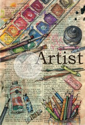 """""""Artist"""" Mixed Media Drawing on Distressed Parchment - flying shoes art studio"""