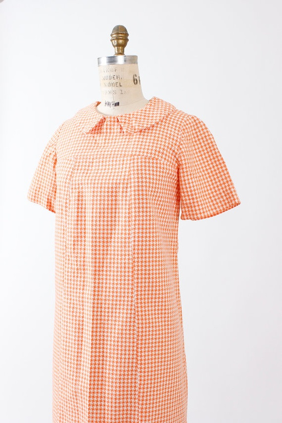 60s dress large xl / 1960s orange white day dress  by TheParaders, $68.00