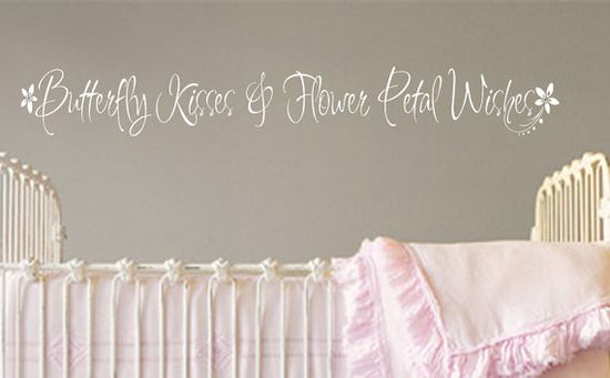Wall Decal Baby Girl Nursery Butterfly Kisses by bushcreative,