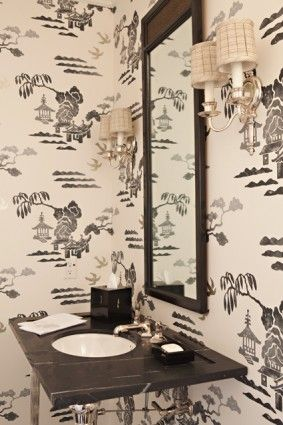 We'll be doing this in our powder room...bold, high-contrast wall paper (or stencil)