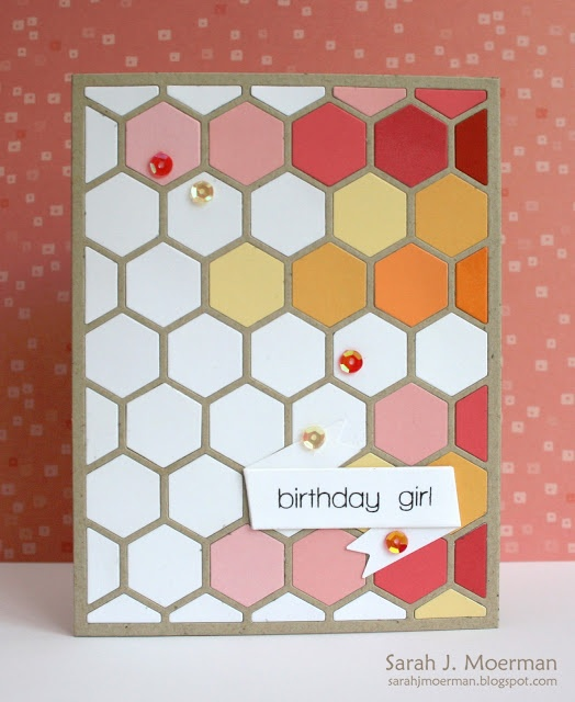 handmade birthday card ... hexagon cover plate die cut of kraft ... filled with die cut hexagons in white and muted warm colors ... inspired by photo of a room design wall ... luv it!!