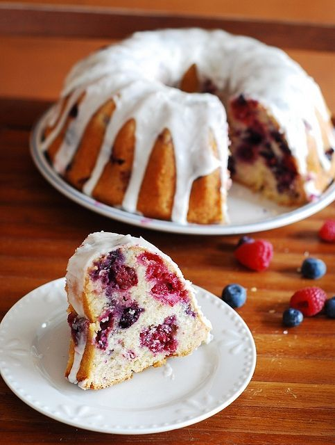 Berry bundt cake glazed with lemon #organic health #health tips #better health solutions #health care #health guide