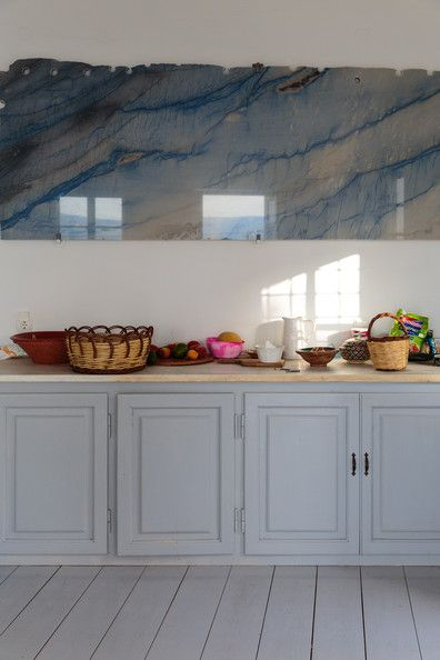 A slab of marble hung in a kitchen