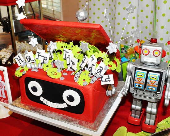 Funky cake idea  robot party