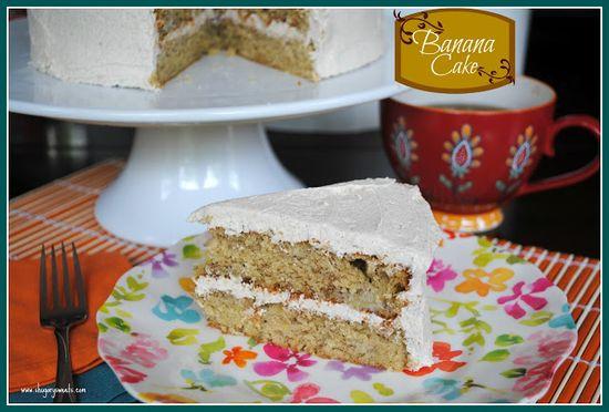 Banana Cake with Cinnamon Buttercream Frosting - Shugary Sweets