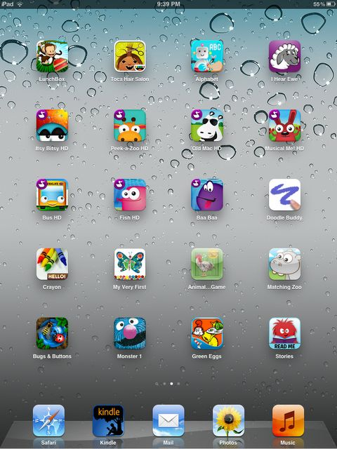 List of 32 Iphone apps for kids:  Monkey Preschool lunchbox, Toca Hair Salon, Interactive alphabet, I hear Ewe, Itsy bitsy spider, Peek a zoo, old MacDonald, Musical Me, Whells on the bus, fish school, baa baa sheep, doodle buddy, Hello crayons, Eric Carle's my very first app, Animal sounds, Giraffe's matching zoo, Bugs and buttons, moster at the end of the book, green eggs and ham, Read me stories, PBS Kids, Baby First HD, BabyTV, iTot Cards, Shapes, Preschool touch, Toddler Counting Lite ...