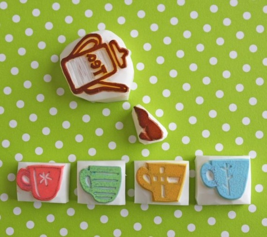 love these Hand Carved Stamps!  1 Mini-Cup (choose 1) + Teapot /  {etsy, StampsbySachi - Hand Carved Rubber Stamps by Sachi} 10.00 USD