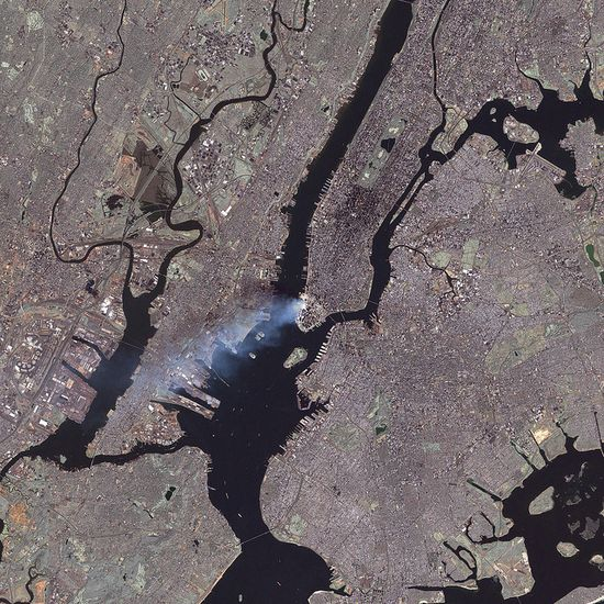 9/11 aftermath, via satellite. This was taken 27 hours after the event.