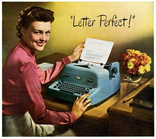 Get letter perfect with IBM Electric Typewriters. #vintage #office #typewriters #1950s