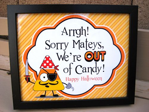 Out of Candy Halloween Door Sign