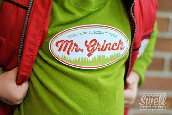 How cute is this Mr. Grinch Christmas tee shirt! See more party ideas at CatchMyParty.com. #christmas #grinch #teeshirt