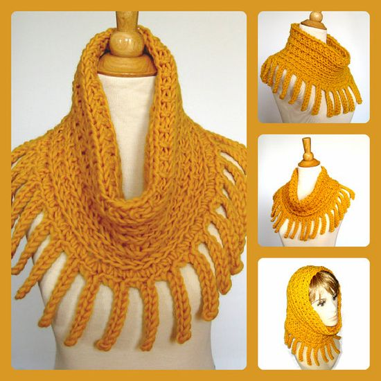 Chunky Crochet and Knit Fringed Cowl - Infinity Scarf - Hood - Cape by KnittingGuru.
