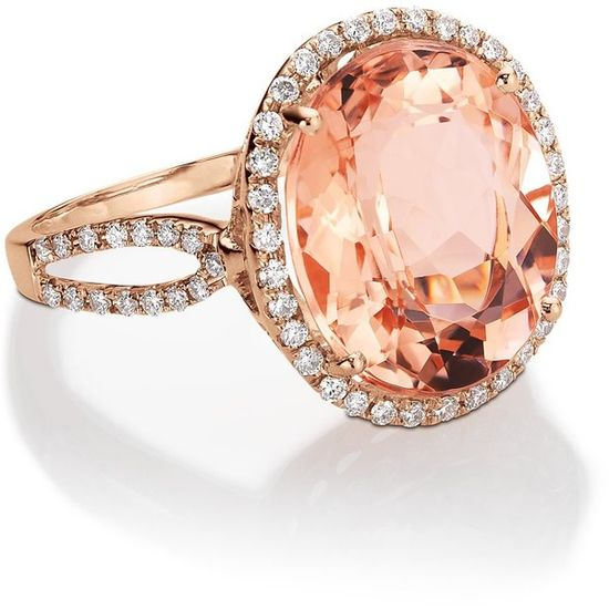 Blue Nile Morganite and Diamond Ring in 14k Rose Gold
