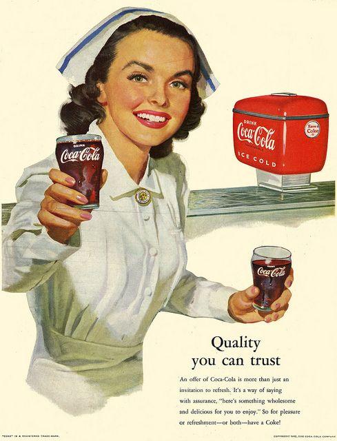 A spoon full of Coca-Cola helps the medicine go down :) #vintage #ad #coke #pop #soda #nurse #vintage #hospital #1950s #fifties #food