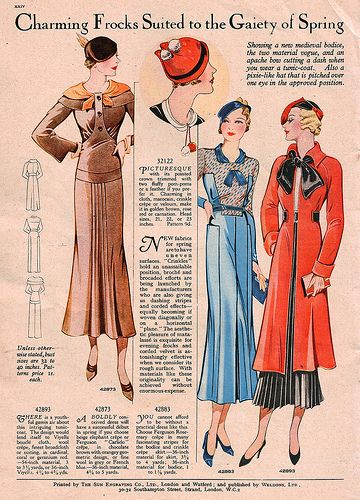Charming frocks suited to the gaiety of spring (April 1933). #vintage #1930s #fashion #illustrations