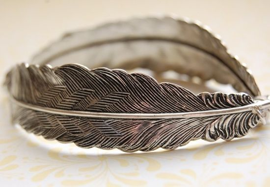 The Feather Bracelet  Sterling Silver by verabel on Etsy, $48.00