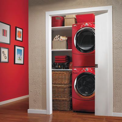Fitted with a water line for the washer and ductwork for the dryer, this hall closet was transformed into an ultraefficient home for a laundry room.