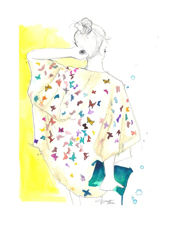 Original watercolor and pen fashion illustration by Jessica Durrant titled The Butterfly Blouse