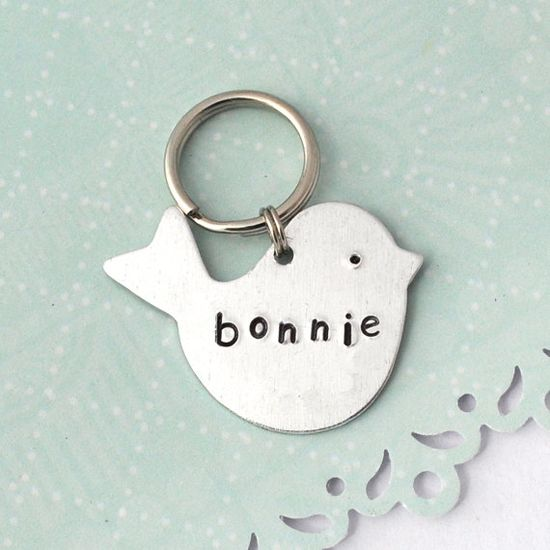 Custom Pet Tag, Personalized Pet id tag Aluminum Bird, dog, cat by jewelmint. $13.00, via Etsy.
