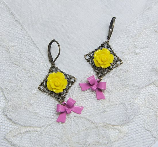Adorable :) Yellow and Pink Earrings Handmade by me--->Weezi, $12.00 #etsy #handmade #earrings