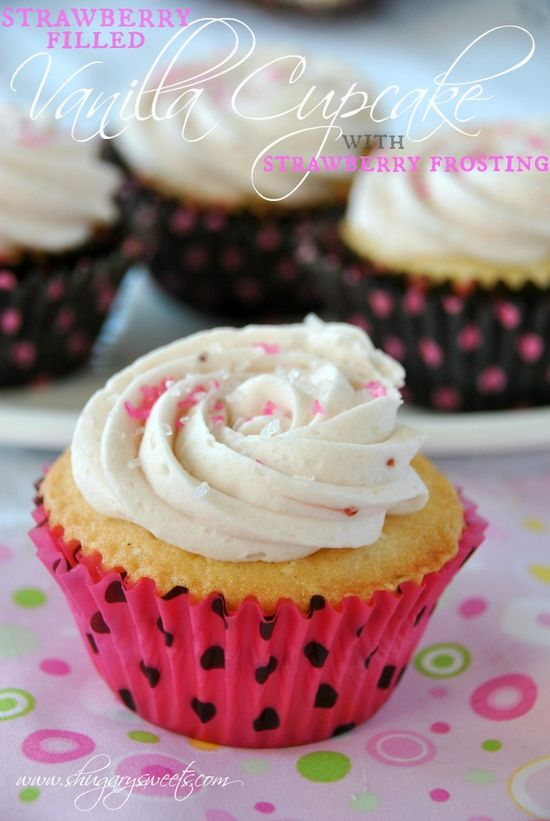 Vanilla Cupcakes with Strawberry Filling and Strawberry Buttercream Frosting: from scratch white cake recipe, with a delicious strawberry topping! #cupcake #strawberry www.shugarysweets...