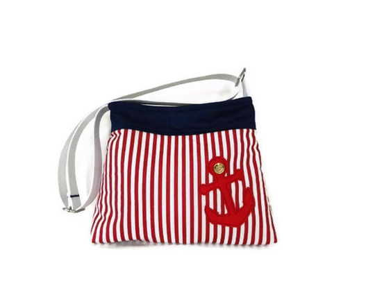 Striped Mini Messenger Bag with Red Anchor. $49.99, via Etsy.