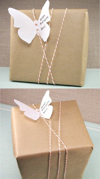 I love this simple gift wrap idea!