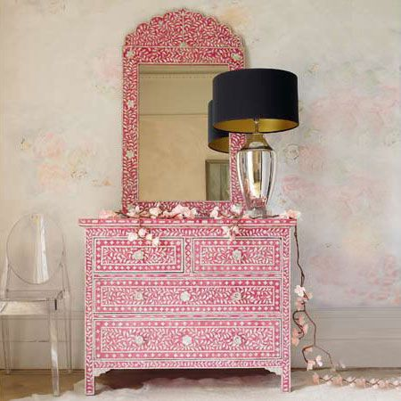 Raspberry Pink Mother of Pearl Bone Inlay Chest of Drawers Courtesy of InStyle-Decor.com Beverly Hills Inspiring & Supporting Hollywood interior design professionals and fans, sharing beautiful Luxe Home Decor Inspirations, Designer Furniture, Table Lamps, Mirrors & Decorative Accents. Trending 1st in Hollywood, Your Welcome To: Repin, Share & Enjoy