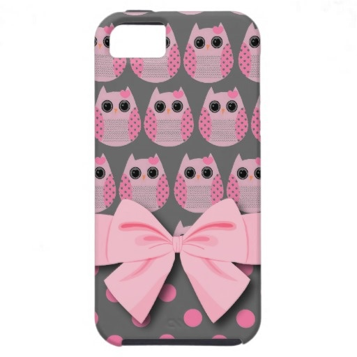 Pink Gray Polka Dot Owls iphone 5 Case