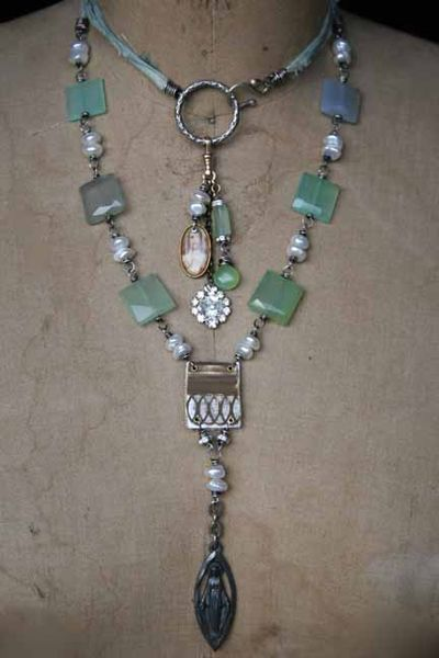 Double wrap necklace-handmade jewelry. Nice. . .