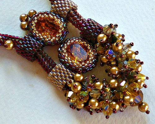 Rivoli Beadwoven Necklace Unique Beaded Beadwork Beadweaving Jewelry Eye of a Tiger