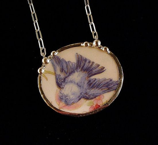 Antique Fluffy Bluebird china broken china jewelry necklace made from a broken plate