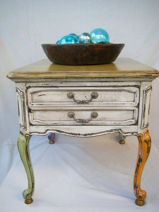 French Country Cottage Side Table by lemonadestore on Etsy, $300.00