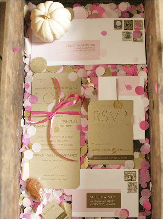 Pink and gold invite