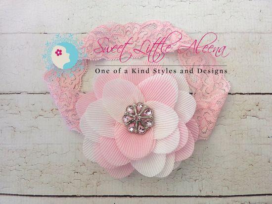 White Pink Headband  Flower Girl Accessories  by SweetLittleAleena, $9.95