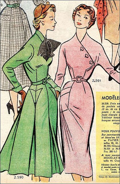Lovely solid coloured winter dresses from 1952. #vintage #1950s #fashion #dresses