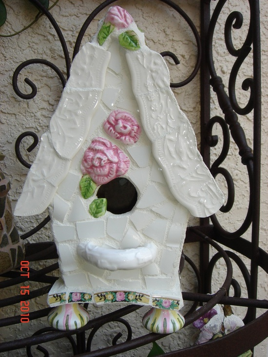 One of a Kind COTTAGE STYLE MOSAIC Bird House Collector Piece. $120.00, via Etsy.