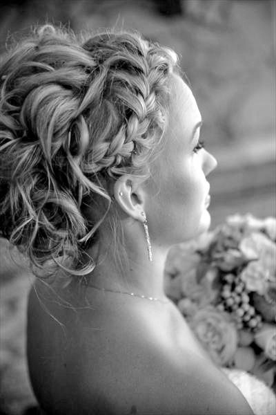 wedding hair- plaits – love this style… with a tiara to split the braid from t