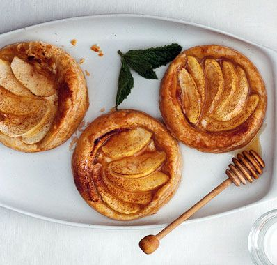 Apple, Goat Cheese, and Honey Tartlets. Sweet and savory. Yum.