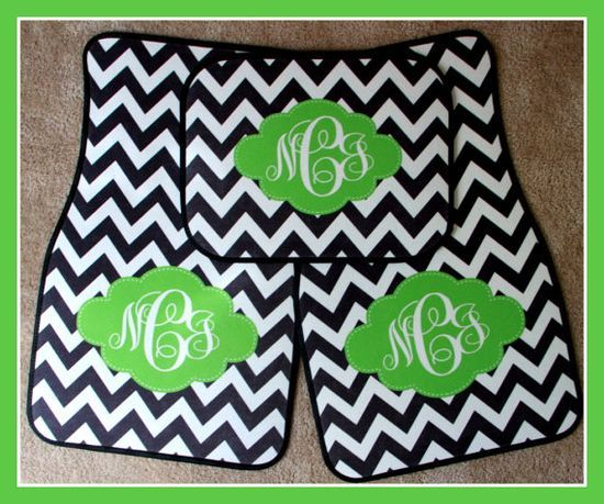 Monogrammed Gift Personalized Car Mats Black Chevron and Lime Frame Monogrammed Car Mats Custom Car Mats Monogrammed Car