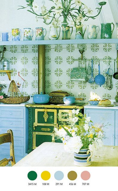 Blue and green kitchen.
