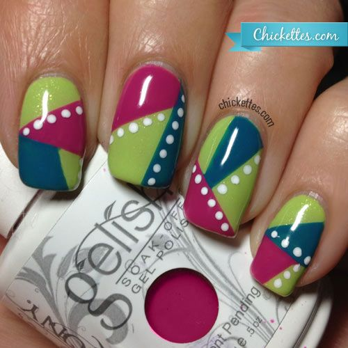 Chickettes.com  Geometric Nail Art with Gelish