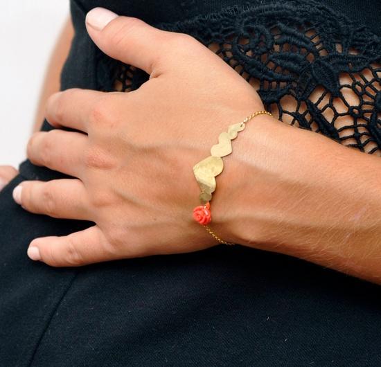 Flower & Hearts Plate bracelet. 14kt gold filled. $73.00, via Etsy.