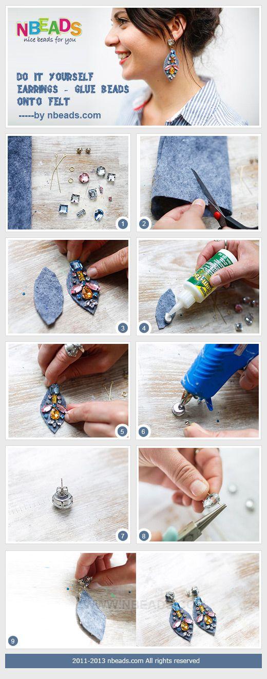 do it yourself earrings - glue beads onto felt