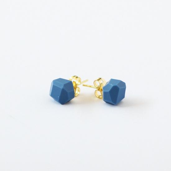 denim blue geo earrings by AMM Jewelry