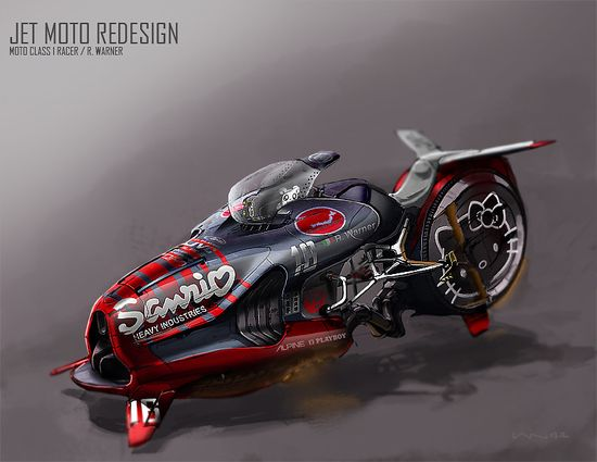 Jet Moto Redesign Picture  (2d, sci-fi, motorcycle, vehicle, jet, fighter, jetbike)