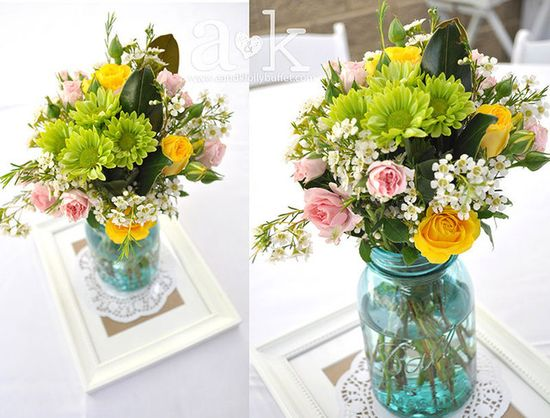 Beautiful flowers at a pastel vintage baby shower!  See more party ideas at CatchMyParty.com!  #babyshower #partyideas