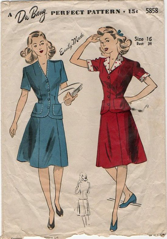 Charming 1940s Two Piece Dresses. #vintage #sewing #pattern #dress
